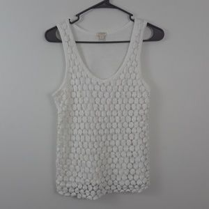 J.CREW S WHITE EMBROIDERED TANK TOP